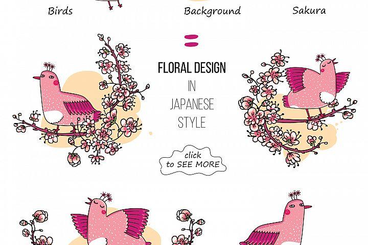 Pink Japanese Bird - Floral set example 6