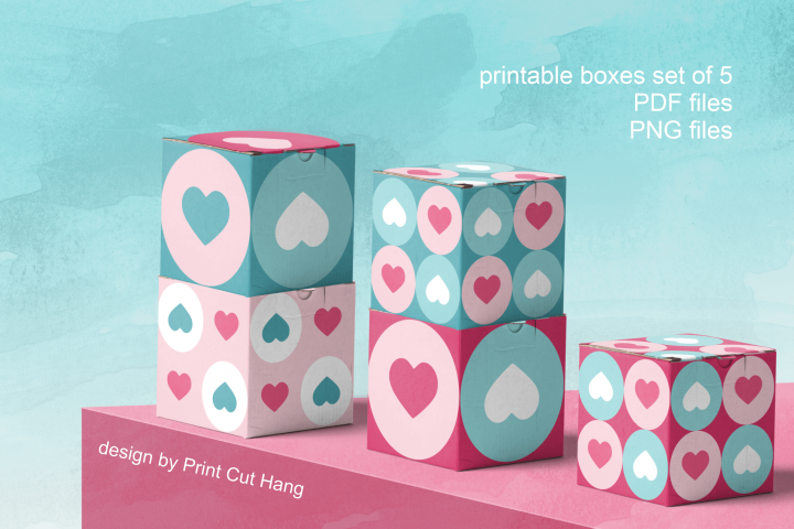 Printable Valentine Gift Boxes Set of 5 Templates PDF file