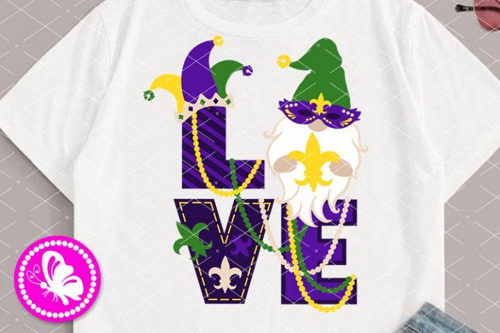 Love sign Mardi Gras Gnome Mask Beads Fleur de lis Cricut