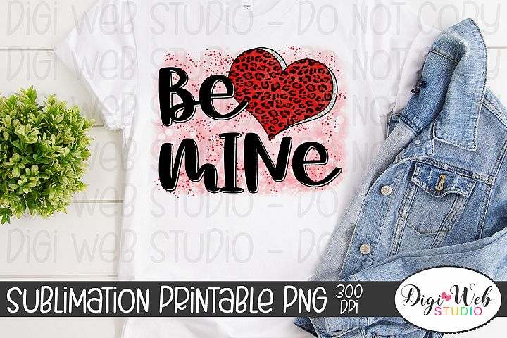 Crafters Sublimation Printable - Be Mine Red Leopard Heart