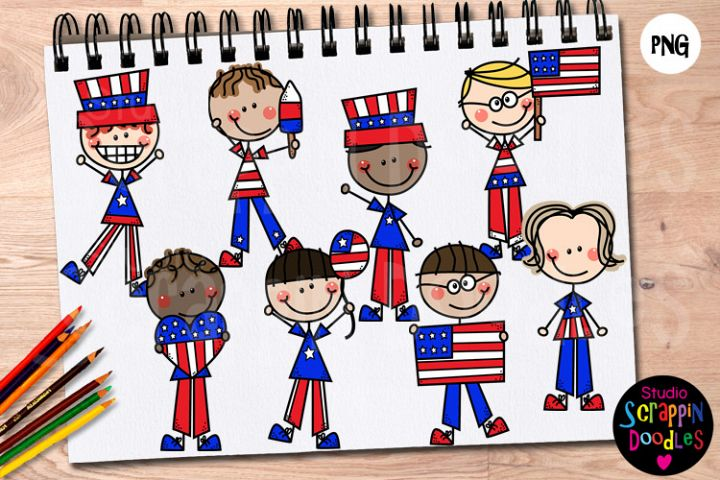 Doodle Boys 4th of July Clip Art