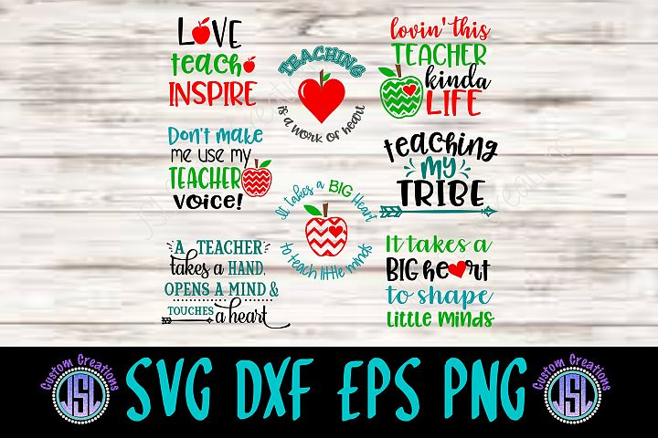 Teacher Bundle Set of 8 | SVG DXF EPS PNG Digital Cut Files