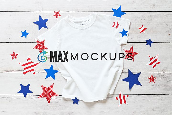 Kids t-shirt Mockup, July 4th, flatlay, styled photography