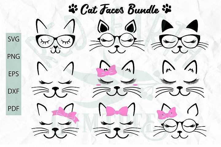 Cat Faces with lashes and glasses cut file in SVG format