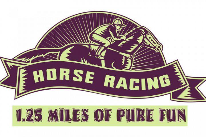 Horse and jockey racing race woodcut