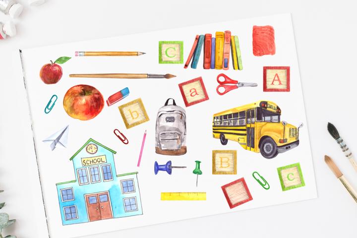 Watercolor School Clip Art Set