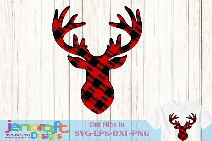 Buffalo Plaid Reindeer SVG, Christmas Deer svg Antlers Buck