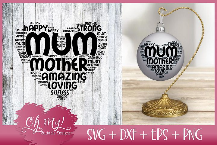 Mum Word Cloud - SVG DXF EPS PNG Cutting File