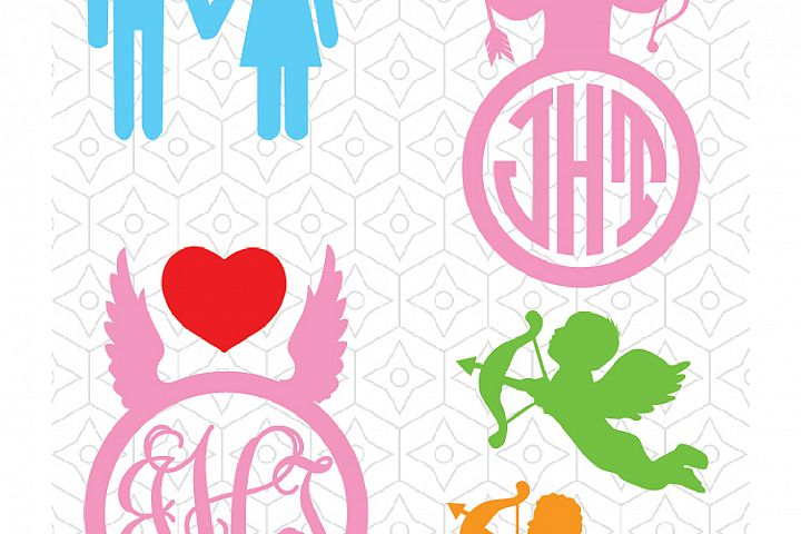 Valentines and Cupid Decals and Monogram Frames