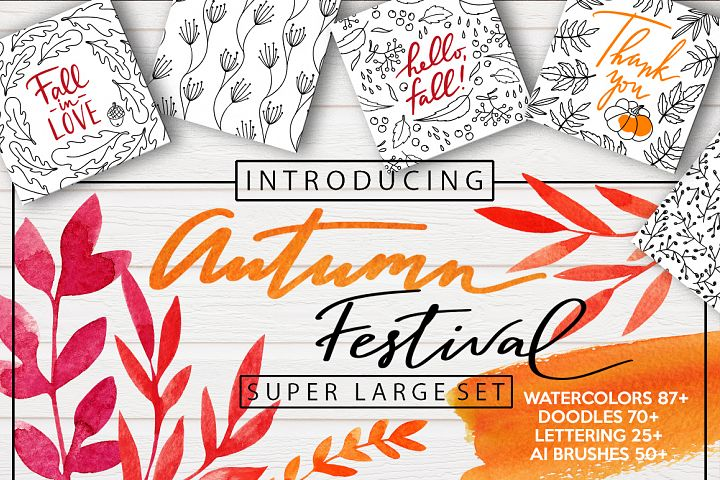 AUTUMN FESTIVAL – watercolor, doodle, lettering, brushes