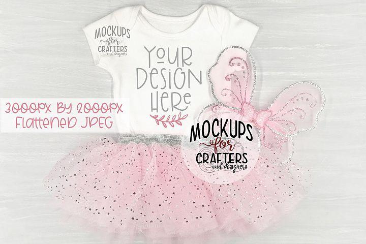 Baby Bodysuit Mock-Up, Tutu, Wings, Fairy