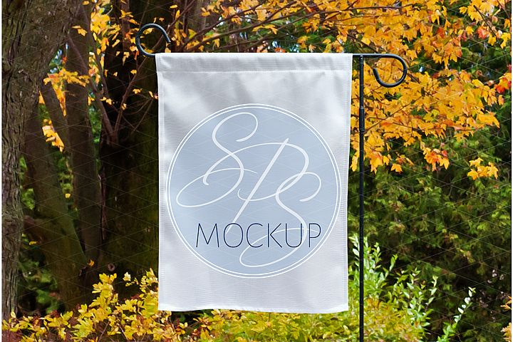 White Garden Flag Mockup for Fall and Autumn