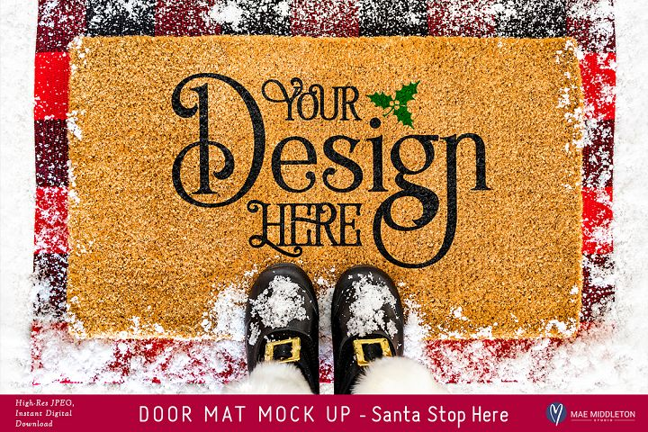 Coir Doormat mock up for Christmas, styled photo
