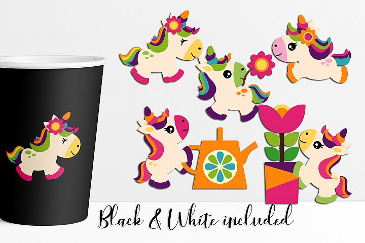 Spring unicorn clip art illustration