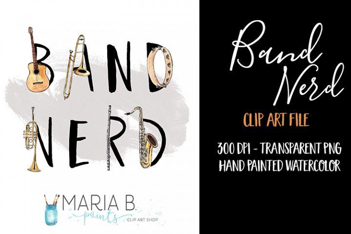 Band Nerd Watercolor Clip Art PNG