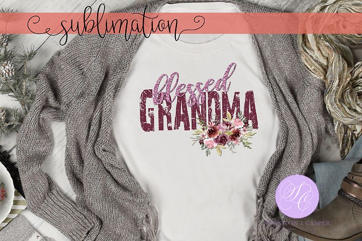 Blessed Grandma | Watercolor flowers | Glitter