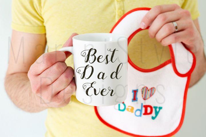 Dad, Husband, Man holding mug & baby bib, mug mock up 390