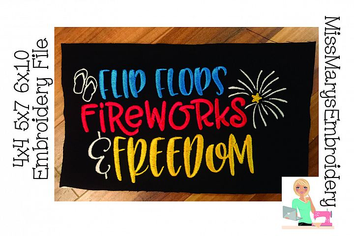 Flip Flops Fireworks Freedom Embroidery File