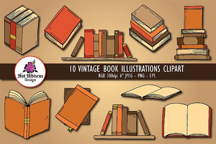 Vintage Book Illustrations Hand Drawn Clipart Graphics