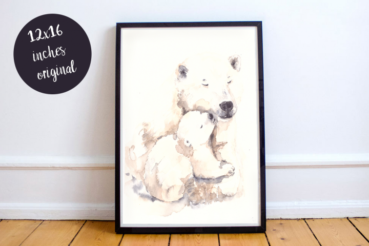 Mother and Baby Polar Bears - Watercolor Print and Clip Art