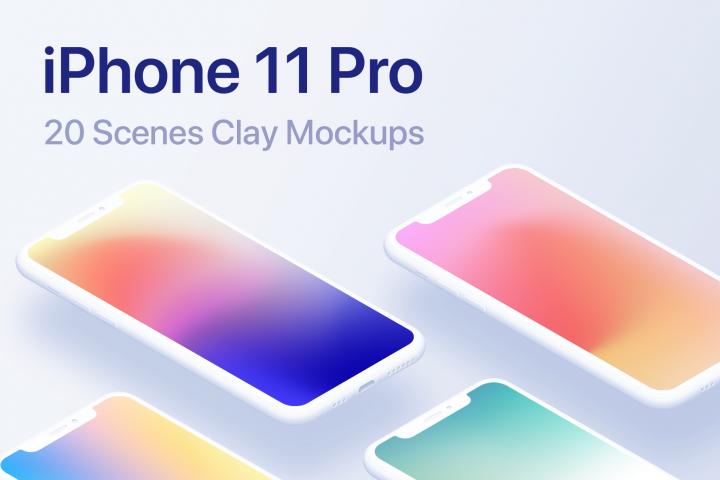 iPhone 11 Pro - 20 Clay Mockups Scenes - PSD