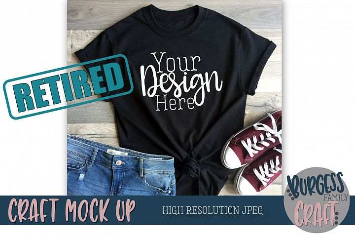 Black t-shirt styled Craft Mock up | High Resolution JPEG