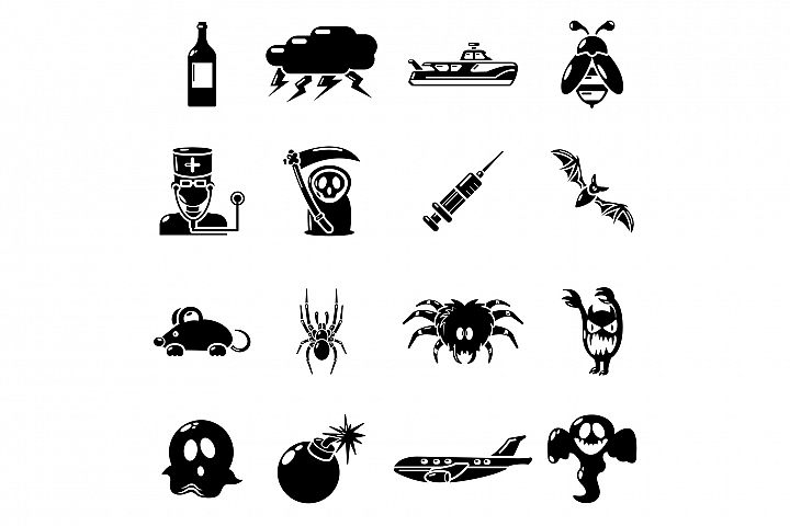Fears phobias icons set, simple style