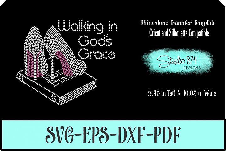 Faith Rhinestone SVG Template - Walking in Gods Grace