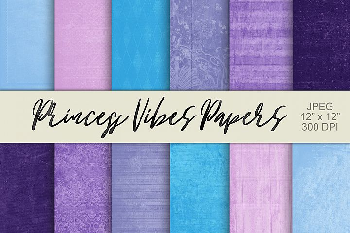 12 Digital Paper Textured Backgrounds - Princess Vibes