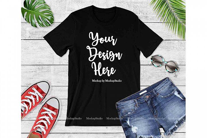 Black Bella Canvas 3001 Women Youth T-Shirt Mock Up Flat Lay