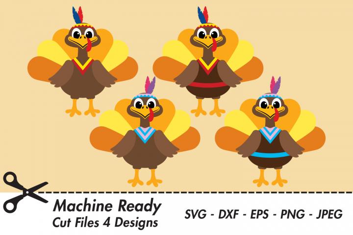 Cute Thanksgiving Native American Turkey SVG Cut Files