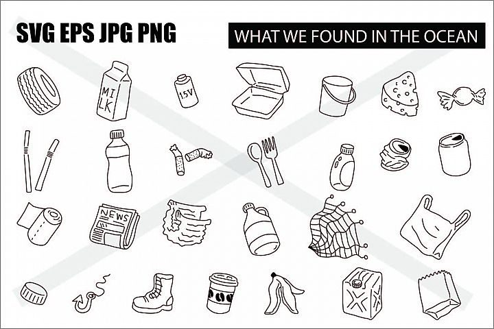 What we found in the ocean - SVG EPS JPG PNG