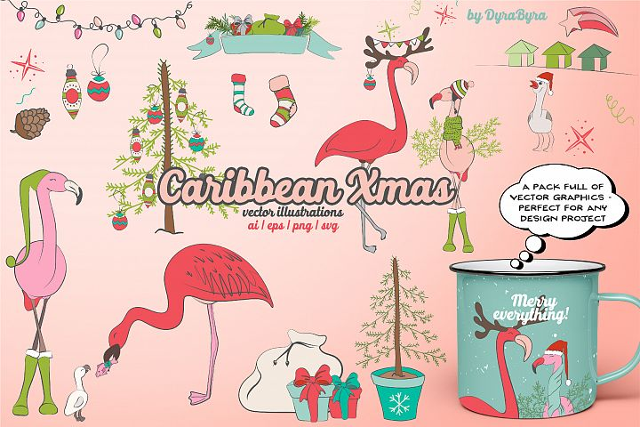 Flamingo Christmas Illustrations