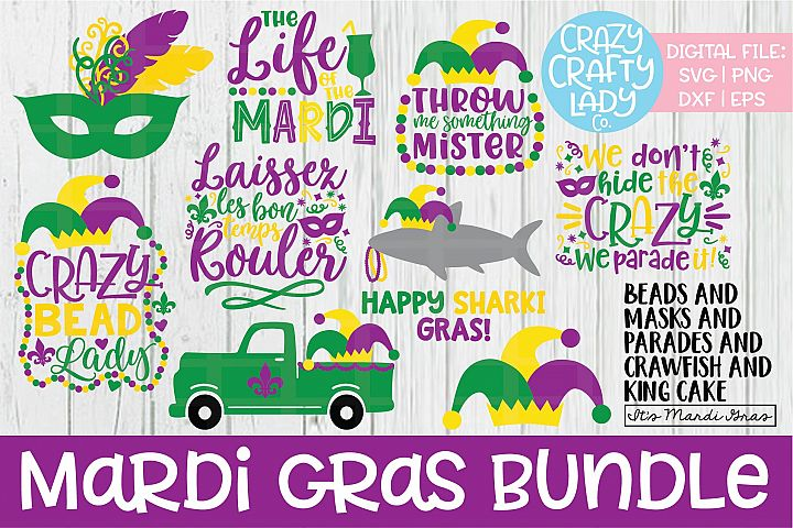 Mardi Gras Bundle SVG DXF EPS PNG Cut File