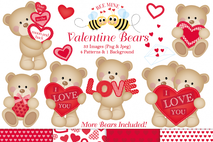 Valentine clipart, Valentine bear graphics & illustrations