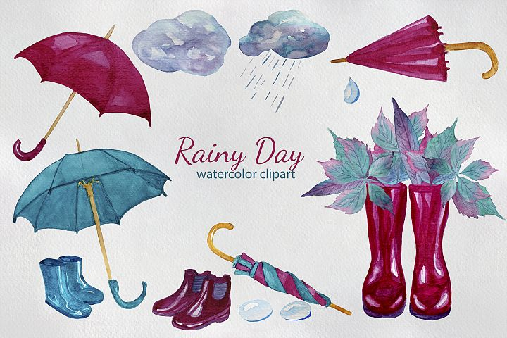 Rainy Day Watercolor Clipart