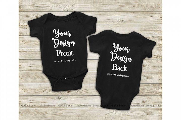 Black Front & Back Baby Bodysuit Mockup, Toddler Mock Up