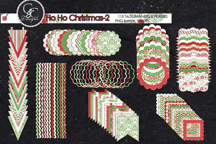 Ho Ho Christmas-2, 115 Tags, Frames and Banner