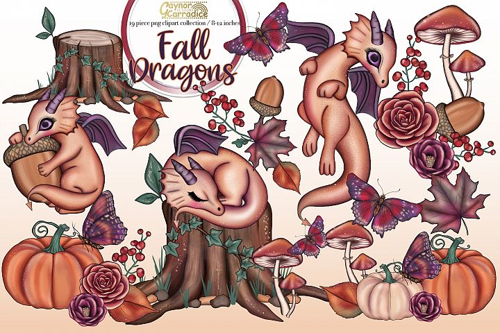 Fall dragons - Autumn clipart collection