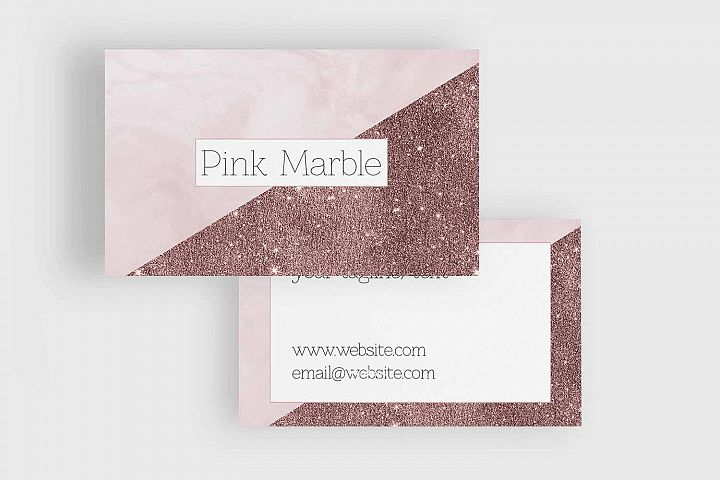 Pink Marble and Glitter Business Card Template example 3