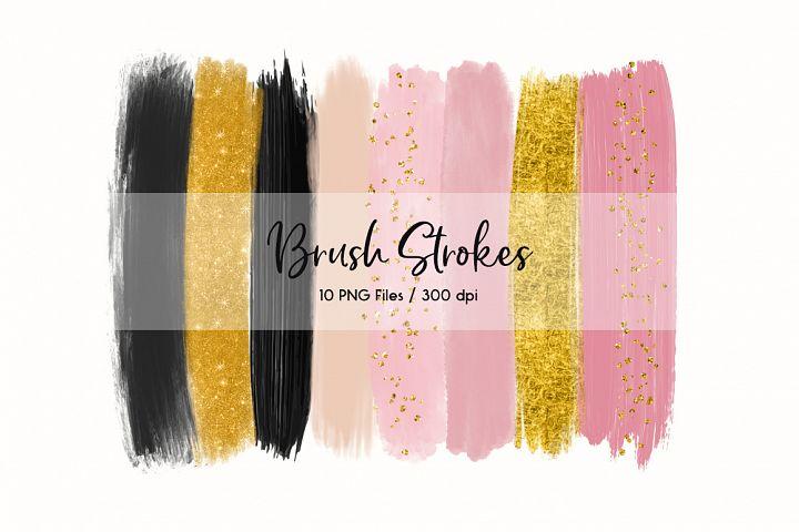 Brush Strokes ClipArt (Pink & Black)