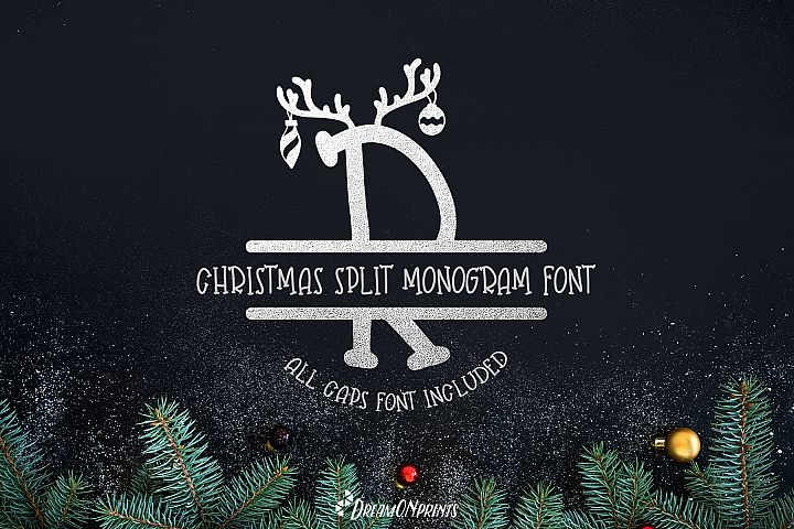 Reindeer Dust - Christmas Split Monogram Font