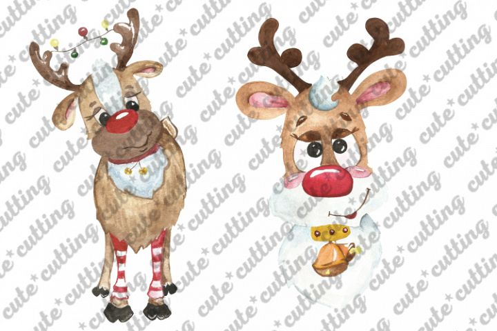 Christmas reindeer watercolor sublimation file png