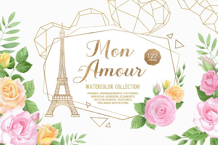 Mon Amour watercolor collection
