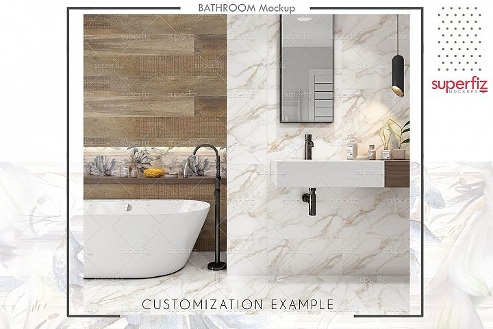Floor and Wall PSD Mockup Bathroom Scene SM89