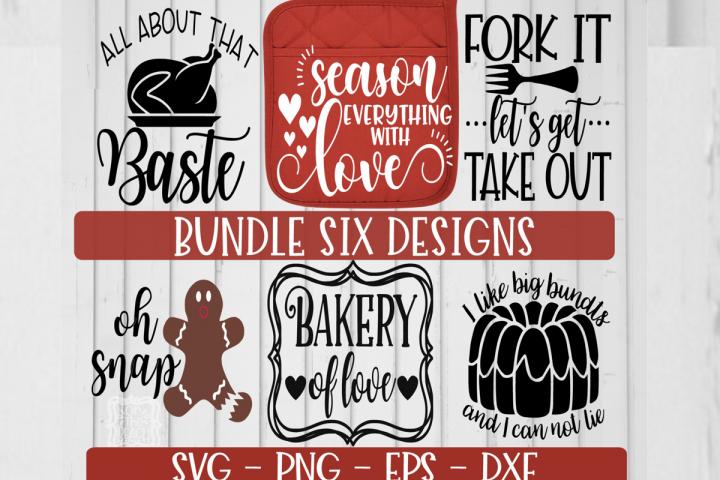 Baking Bundle, Holiday Baking Potholder SIX designs SVG