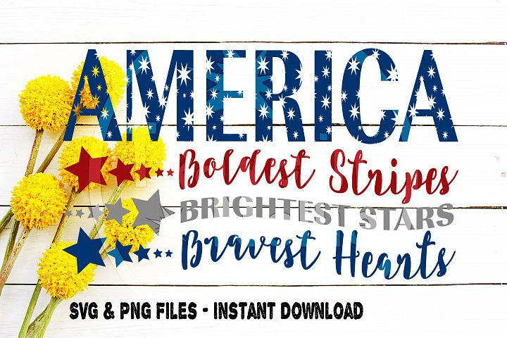 America Svg, Boldest Stripes, Brightest Stars, Bravest Hearts, July 4th svg, Forth of July, Independence Day, Cut File for, Cricut, Cameo