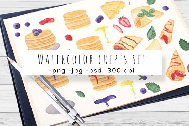 Watercolor crepes, pancake set