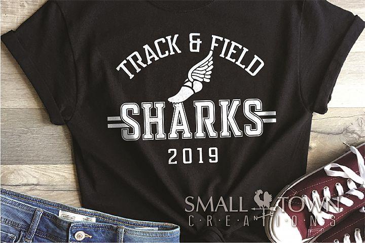 Sharks Track and Field, Shark mascot, PRINT, CUT, DESIGN