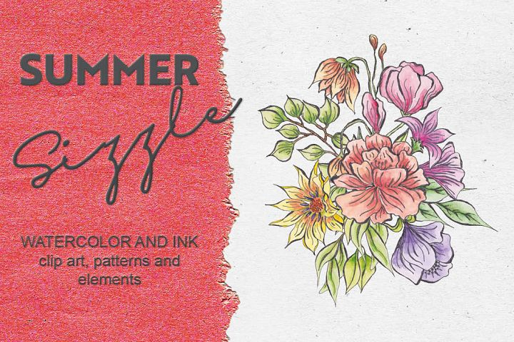 Summer Sizzle - watercolor and ink mini bundle